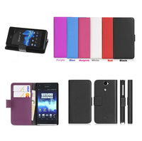 Luxury Wallet Stand Leather Case for Sony Xperia V LT25i With Credit Card Holder 2014 New Mobile Phone Bags+Free Shipping