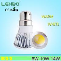 10pcs/lot CREE B22 LED COB Spot Light bulb 6W 10W AC 85-265V Warm/Cold White Free Shipping
