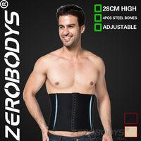 10pcs ZEROBODYS Incredible 28cm High 3 Row Hook Eye Closure Waist Cincher 375 BK Man Girdle Belly Control Slimming Belt