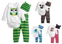 3PC New infant baby boys girls bodysuit+pants+hat girls Cotton Set Clothes size:0-18M