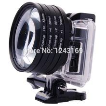 58mm Nahaufnahme Makro-Objektiv +1+2+4+10 linse filter für GoPro Hero 3 gehäuse fall lf441-sz(China (Mainland))