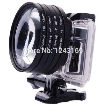 58mm Close up Macro lens +1+2+4+10 Lens Filter For GoPro Hero 3 Housing Case LF441-SZ