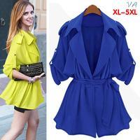 2014 Autumn Trench Coat Tops For Women Fashion Casual Desigual Ladies Big Yards Plus Size 5XL 4XL XXXL Windbreaker