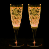 2Pcs Yellow Light LED Champagne Glass Wine Goblet Cup for Wedding Party
