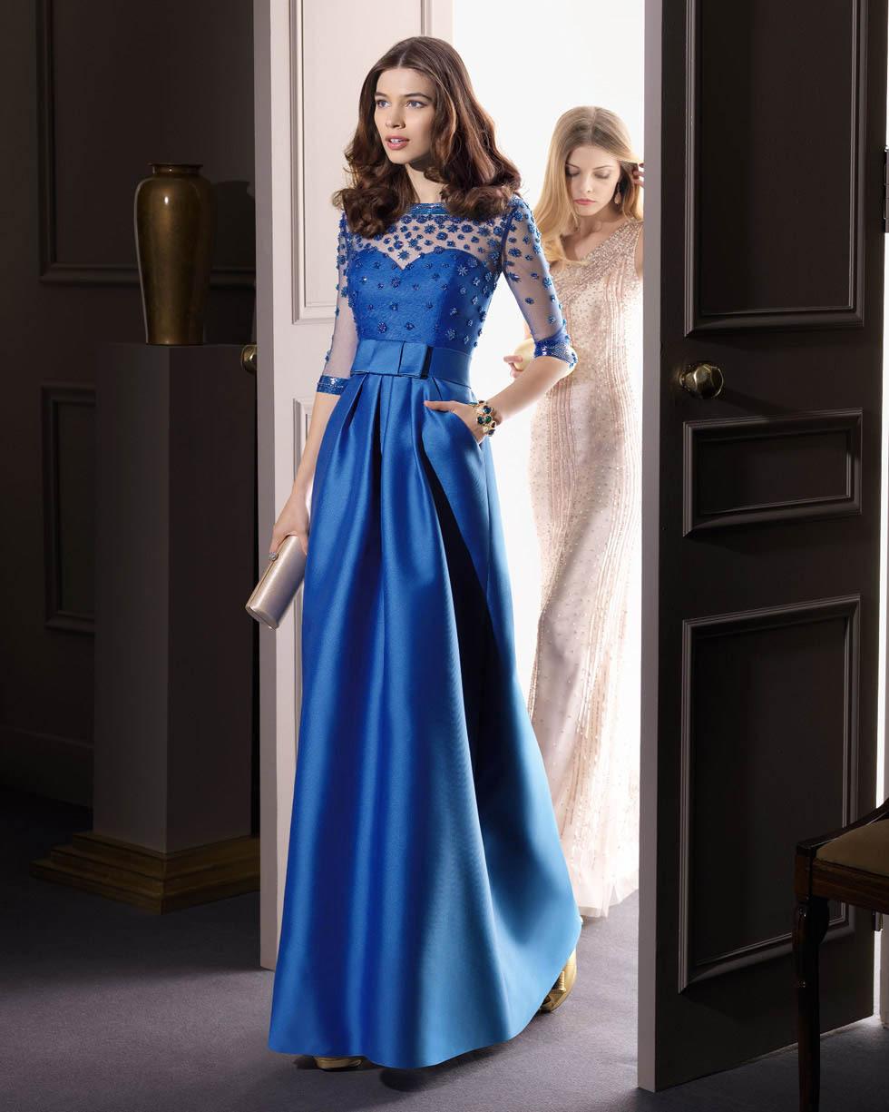 2014 nouvelle robe de mariée en bleu robe de cocktail manches toast vêtements de soirée