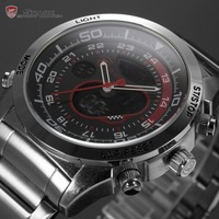 Snapper Shark Series Men Stainless Full Steel Dual Movement Male Wristwatch Black Red Dial Outdoor Sport Watch Digital / SH149