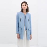 Brand New 2015 Winter Women's Brief Fashion Blue Middle-long Design Double Pocket & Zipper Deco Wool Blends Coat Jackets SML