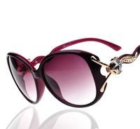Free shipping top grade UV protection gold fox head with diamond big metal frame Anti-dazzling women sunglasses brand sunglasses
