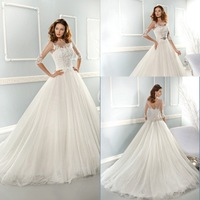 New Arrival Long White Country Western Wedding Dresses Grace A line Women Bridel Dress 2014