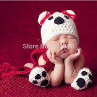 Newborn Photography Props Crochet Baby Panda Hat Scarf and Shoes Set Handmade Crochet Children Costume 1 Set Newborn 0-12Month