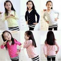 Promotion! 2014 Autumn New Arrival Fashion Children Polka Dot Sweet Cute Cardigan Girls Long Sleeve Coat 5 Size