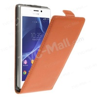 Free shipping 1pc/tvc-mall Genuine Split Leather Vertical Flip Case Shell for Sony Xperia M2 D2306 / M2 Dual D2302