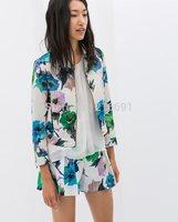 2014 new fashion Ladies' elegant Flower print three quarter sleeve Jacket coat zipper outwear casual slim brand design tops#E710