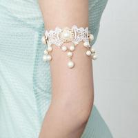 Handmade Dance Bridal Wedding Gothic Arm Band Armband Armlet Flower White Lace Beads Drop Bracelet Jewelry Gift FREE shipping