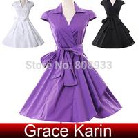 Free Shipping 1pc/lot Grace Karin AL09 Black/White/Medium Purple 50s 60s Short Cap Sleeve Vintage Women Dresses CL6087