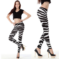 High Quality 2014 new sexy Geometric preppy style Black Zebra printed women's leggings slim stretch footless leggings wholesale
