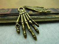 40pcs bronze skull hands alloy charms bracelet necklace pendant diy decoration cabochon steam punk jewelry accessories