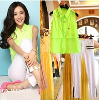 Free shipping 2014 summer new women elegant work pant suits,women bright turn-down collar blouse and zippered white trousers