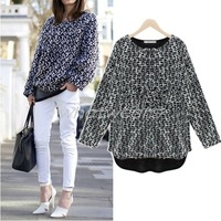 Free Shipping 2014 New Fashion Womens Pullover Knitted Hollow Loose Casual Black Sweater [2 70-1496]
