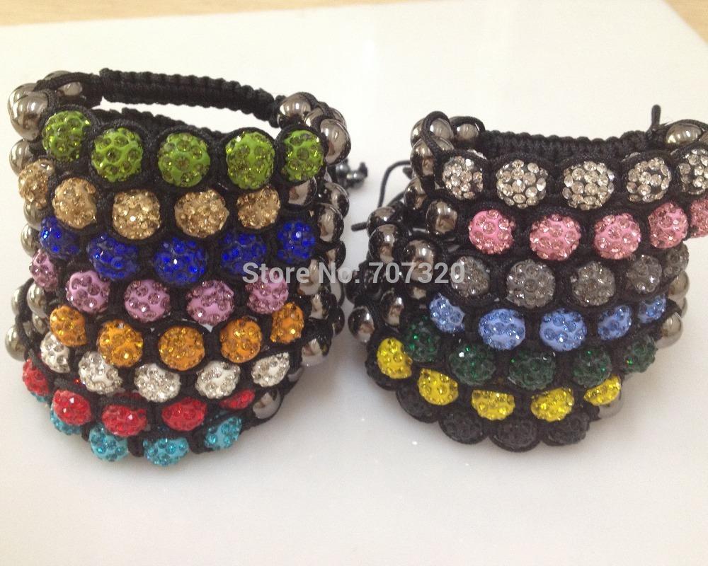 10 bracelets/lot Rainbow Bracelet clay rhinestone beads shamballa beads women bracelet Free Shippingg(China (Mainland))