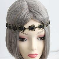 Free shipping Jewelry Chic Womens Girl Bungee Rhinestone Multi Flower Bronze Stretch Elastic Hair Band Headband Hairband Lolita