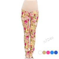 2014 new fashion healthy Korea elastic peony floral print  maternity pregnant women pencil pants jeans trousers