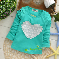 Spring and autumn,Children Tops,baby Girls Cute White lace love T-shirts,V1324