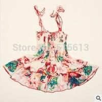 Wholesale 2014 New HOT Summer children clothing,baby girls princess flower dress,kids vintage cake ruffles strap dresses