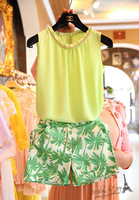 Free shipping 2014 summer new women elegant shorts suit,women sleeveless beading chiffon blouse and trees print shorts