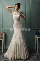Wholesale Vintage Lace Mermaid Bateau Neck Sleeveless Beaded Court Train Custom Made casamento Bride Wedding Dress 2014