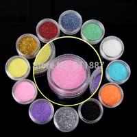 Fashion 12pcs/Set Shiny Colors Nail Art Tips Decorations Design Acrylic UV Glitter Powder Dust Tools