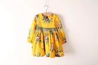 Wholesale 2014 New HOT Spring/Autumn children clothing,baby girls princes clothes,print floral korea dress