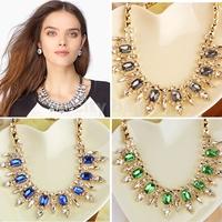 Luxury Rhinestones JEWEL luxurious Necklace European Style Elegant Punk  Pendants Chain Jewelry Blue/Green/Gray HK