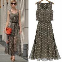 Summer Dress 2014 New vestidos Fashion Chiffon Polka Dots Women Long Dress Casual Vintage Summer Dresses Plus Size S-XXXL B0091