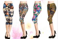 Cheap Fashion Womens pants  thin flat print pants capris women's flower trousers plus size larger size Capris pants 2014 XXXL