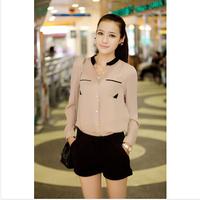 2014 Hot Sell Fashion Chiffon Blouse Stand Pockets Clothes Women Stand Collar Chiffon Blouse Long Sleeve Shirt WBS011