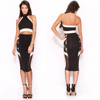 1098 2014 summer womens new fashion clothing sexy backless halter 2pcs pencil dresses ladies knee-length celebrity bodycon dress