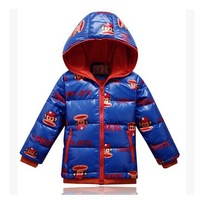 2014 Winter New Brand Children Downs Jacket Coat Boys And Girls Fashion Cartoon Short Hooded Down & Parkas Outerwear Free Ship