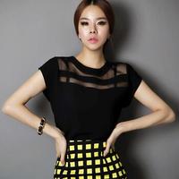 New Ladies Black Tulle Sheer Blouses Shirts Women's Tops Chiffon Blouse Short Hollow Out Blusas Femininas Summer WBS012