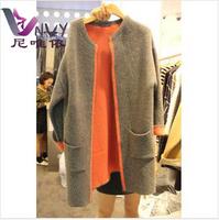 Coat women casacos femininos 2014 desigual women's long wool winter woollen trench coats cardigan cashmere female overcoat W187