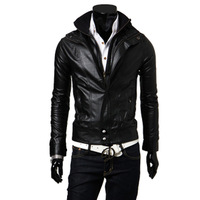 Male casual leather clothing short design mens bodycon stand collar male leather jacket outerwear coat