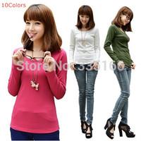 New Women t-shirt Long Sleeve Candy Color Slim Female O-neck t shirt All-match Basic Tops For Autumn S--XXXL Plus Size  #JM06899