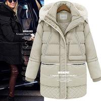 2014 Winter Women Cashmere Wool Outwear Coat Medium Long Down Thicken Coat Female Fleece Jacket Plus Size S - XXL Free Shipping