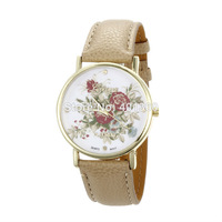 2014 New GENEVA Platinum Rose Flower Watch Ladies and Girls Floral Watches Women Quartz Wristwatch relogio Beige Leather
