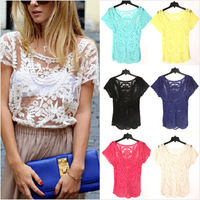 New Fashion Summer Womens Lace Embroidery Floral Crochet Crew Neck Short Sleeve Sexy Hollow Out Retro Plus Size Blouse WBS015