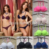 Details about Lace Sexy Women Underwear Set Push Up Front Closure Y-line Bra Sets Blue B Cup z