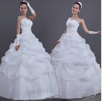 Free Shipping Hot Sale New 2014 Dress White Sexy Off Shoulder Backless Flower Bride Wedding Sweet Princess Slim Wedding Dress