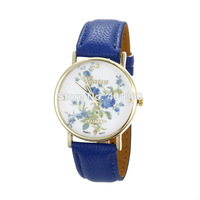 2014 New Fashion Women Dress Watch Pu Leather Luxurious Rose Gold Flower Quartz Watches Sports Watches