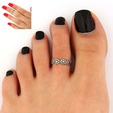 5pcs Lady Girl Personality Stylish Antique Silver Flower Toe Ring Foot Jewelry