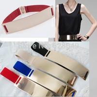 Unique design Fashion Women Metal Plate Elastic Metallic Bling Gold Mirror Designer Wide Cummerbund Waist Belt #10 SV00168